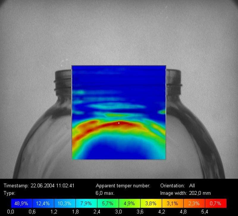 Residual strengths in the opening/barrier transition zone of a glass container (polarized light photograph)